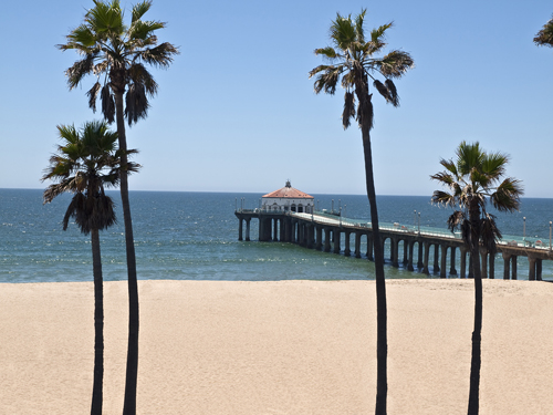 Manhattan Beach: Pier, Beach, and Palm Trees