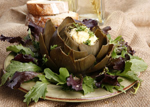 based artichoke filled with suace